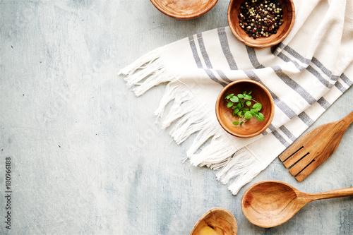 Valokuva  Food background with wooden kitchen utensils