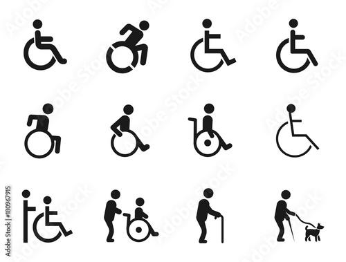 Photo disabled handicap icons set, vector illustration on white background