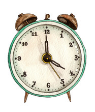 Watercolor Illustration Vintage Alarm Clock. Hand Painted. Isolated Element. Back To School.