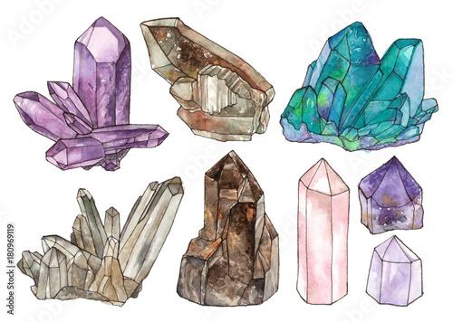Foto watercolor illustrations crystals and gemstones