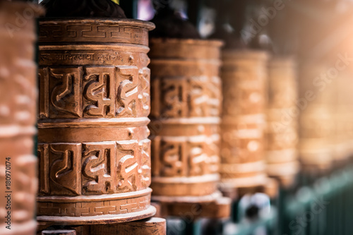 Closed up the prayer wheel at temple in Kathmandu, Nepal Poster Mural XXL