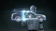 Robot, cyborg touching Electronic, ion battery echo car. Charging car battery. Battery level check, future car.1.