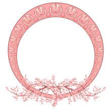 Art Nouveau Style Round Frame With Spring Sakura Blossom Vector Design