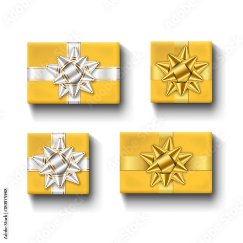 Gift Boxes Top View With Ribbons Bow Set Isolated White Background