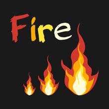 Realistic Fire Flames. Vector