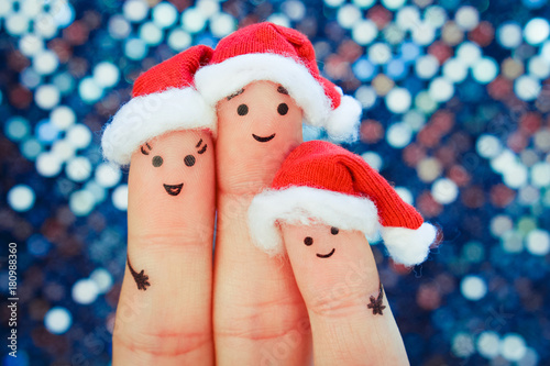 Fingers art of family celebrates Christmas. Concept of group of ...