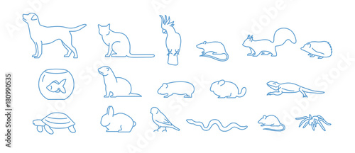 Fototapeta Collection of pet icons drawn with blue contour line on white background. Set of domestic animal linear symbols. Vector illustration. obraz