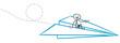 Business Mann fliegt im Papierflieger in Urlaub