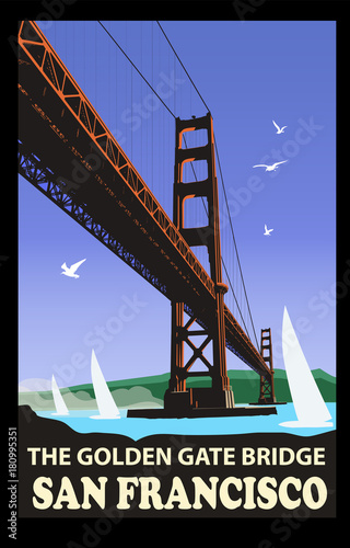 Tuinposter Art Studio The golden gate bridge, San Francisco