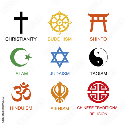Vector Illustration World Religious Signs And Symbols Collection In