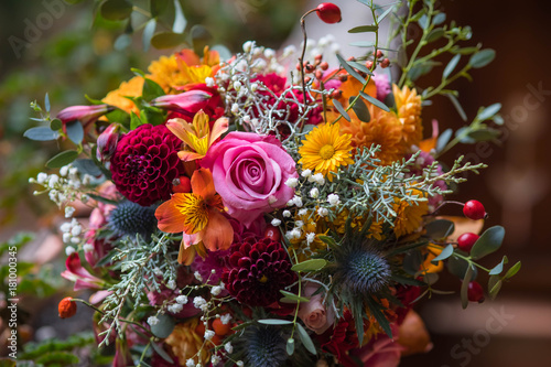 Canvas Print Beautiful colorful mixed flower bouquet
