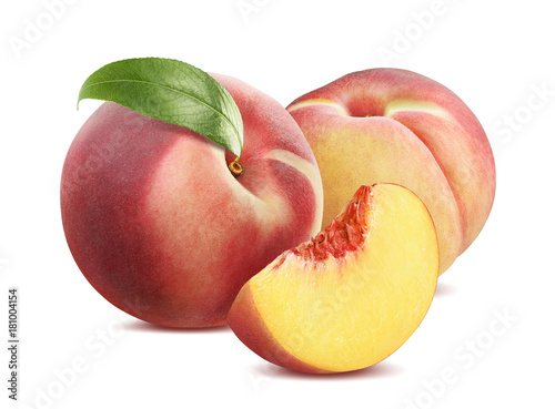Foto op Aluminium Vruchten Whole and pieces peach composition isolated on white background