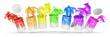 canvas print picture - Bunte Farben in Farbeimern als Regenbogen