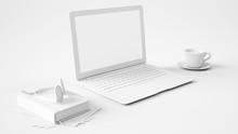 Schreibtisch In Weiß Mit Laptop Computer