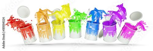 Spoed Foto op Canvas Vormen Bunte Farben in Farbeimern als Regenbogen