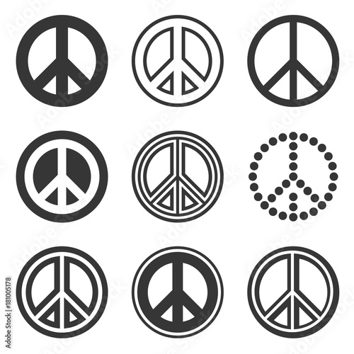 Hippie Peace Signs Set on White Background. Vector Fotobehang