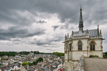 Elevated View Of Rooftops And Saint Hubert Chapel Where Da Vinci Is Buried, Amboise, Loire Valley, France