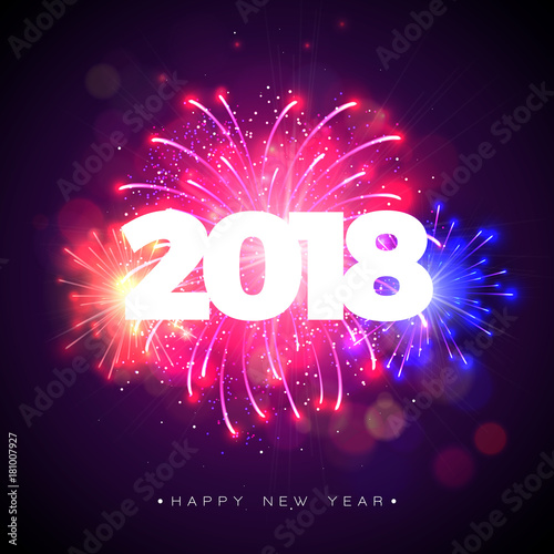 happy new year 2018 illustration with firework and 3d text on shiny blue background vector