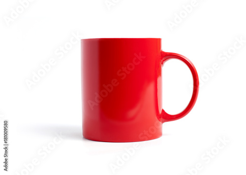 Closeup of red mug on a white background.