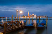 Long Exposure Of Gondola Moored At Night, Venice, Veneto, Italy, Europe