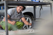 Man welding in bodywork repair shop