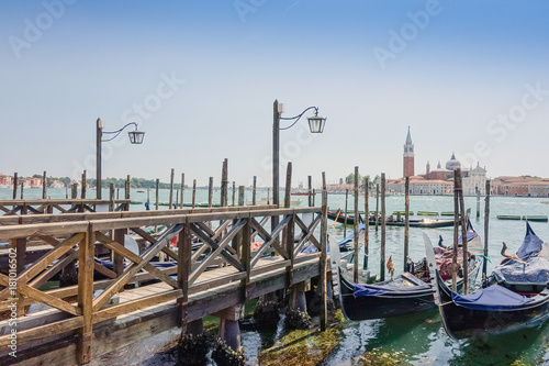 Spoed Foto op Canvas Gondolas Beautiful view of water street and old buildings in Venice, ITALY