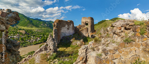 Fotografia, Obraz panoramic view of the fortress, Atskiri Fortress Ruins, Georgia, The fortress of Atskuri in the Borzhomi Gorge has not been preserved