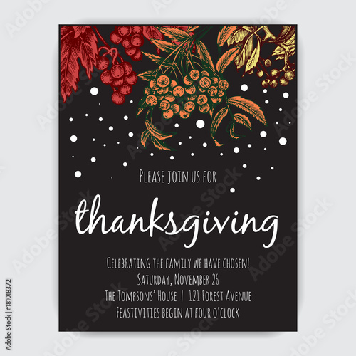 Fototapety, obrazy: Invitation card for Thanksgiving dinner in the circle of friends. Illustration with autumn berries, leaves and first snow.