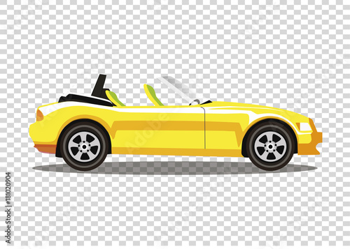 Yellow Modern Cartoon Colored Cabriolet Car Isolated On Transparent