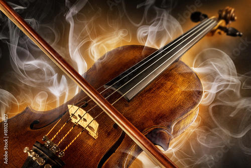 Stampa su Tela violin and surrounded by smoke