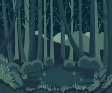 Night Forest Landscape With Mo...