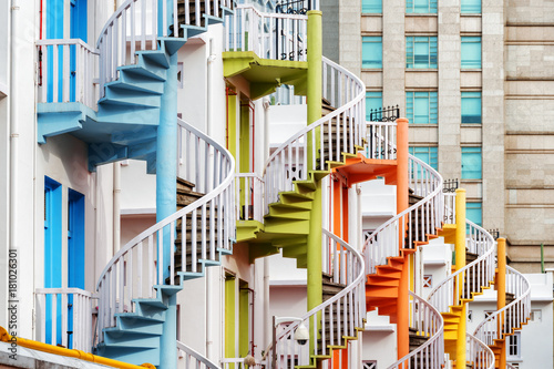 Tuinposter Singapore Colorful exterior spiral staircases, Singapore