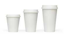 Blank White Takeaway Coffee Cups Mockup Or Mock Up Template Isolated On White Background