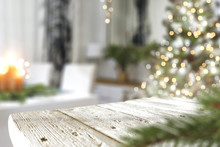 Christmas Wooden Table And Tree