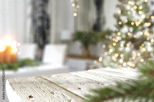 Fotografie, Obraz  christmas wooden table and tree