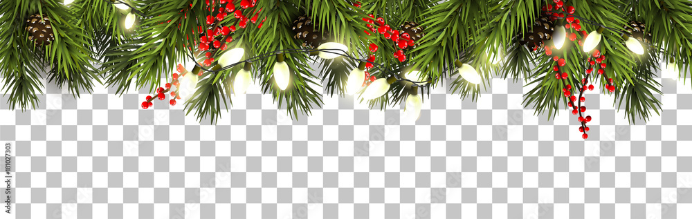 Fototapeta Christmas border with fir branches and pine cones