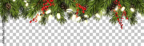 Christmas border with fir branches and pine cones Canvas-taulu