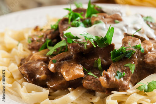 Homemade beef Stroganoff with mushrooms