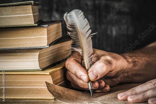 Fotografie, Obraz Man writing an old letter