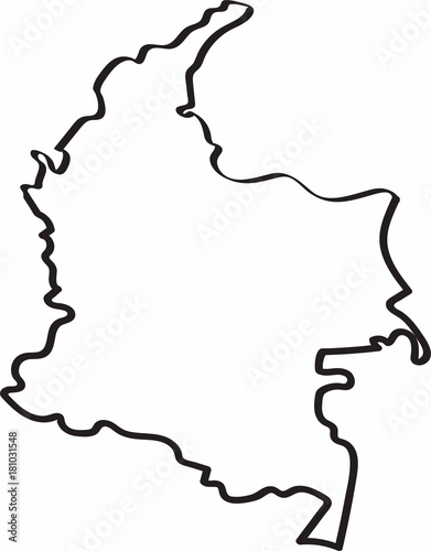 Fotografia, Obraz Freehand sketch of Colombia map. Vector illustration.