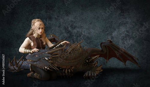 Fotografie, Tablou  Beautiful blonde and fantasy dragon 3d illustration
