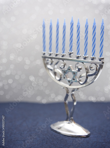 Hanukkah Menorah with Nine Candles Canvas Print