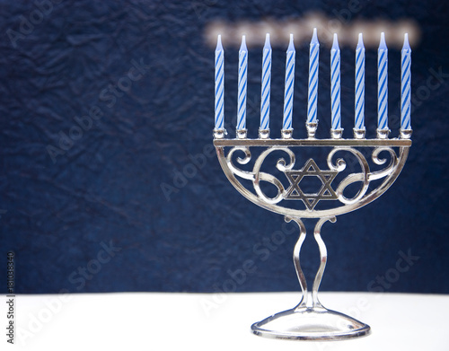 Photo  Hanukkah Menorah with Nine Candles