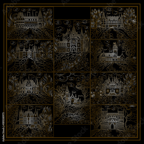 Poster Marron chocolat Set or group with abstract illustrations 6
