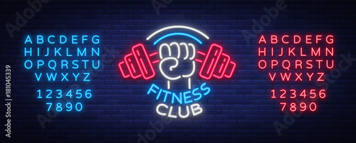 Fitness, gym logo sign in neon style isolated, vector