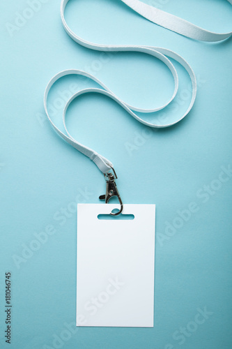 empty blank id card badge with copy space isolated on blue