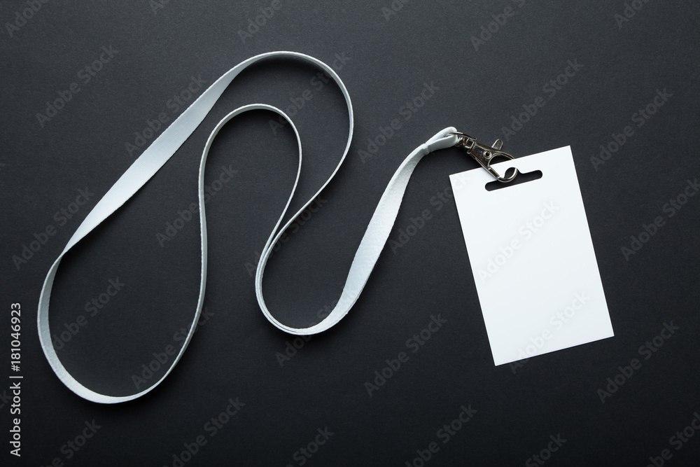 Fototapety, obrazy: Blank badge mockup isolated on black. Plain empty name tag mock up hanging on neck with string. Name Tag, Corporate design.