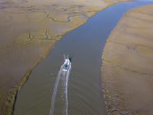 Aerial View Of Shrimp Boat Com...