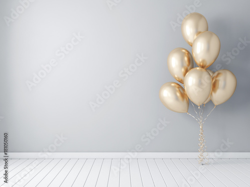 Fototapeta Frame poster mockup with gold balloons, air ballon 3d rendering