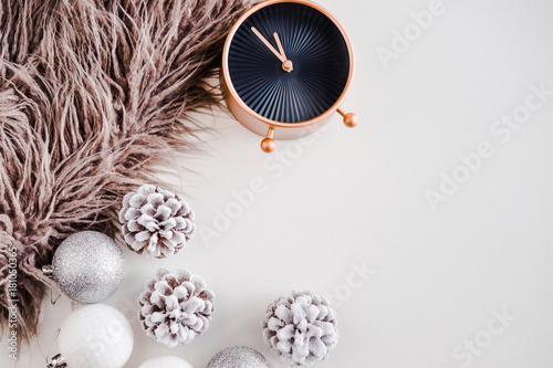 White Christmas Background Faux Fur Rose Gold Clock Frosty Pine Cones Silver